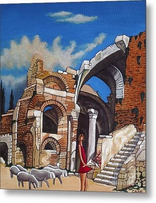 Old Ruins Flower Girl And Sheep Metal Print by William Cain