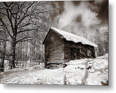 Old Rural Barn In A Winter Landscape Metal Print by Christian Lagereek