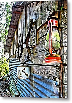 Old Rustic Building - Aunt Tinys Shed  Metal Print by Rebecca Korpita