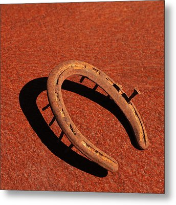 Old Rusty Horseshoe Metal Print by Art Block Collections