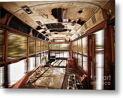 Old School Bus In Motion Hdr Metal Print by James BO  Insogna