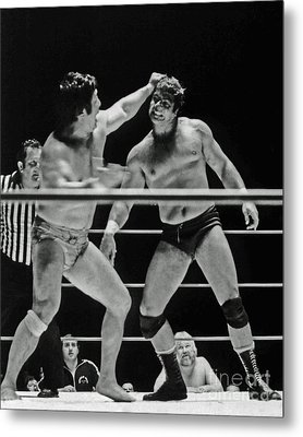 Old School Wrestlers Dean Ho And Don Muraco Battling It Out In The Middle Of The Ring Metal Print by Jim Fitzpatrick