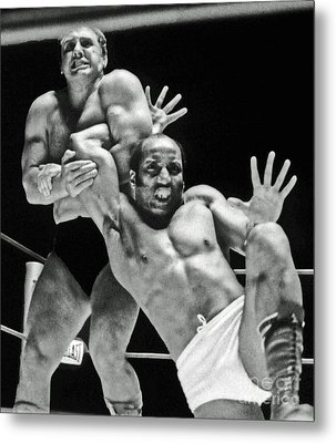 Old School Wrestling Arm Lock By Tony Rocco On Sir Earl Maynard Metal Print by Jim Fitzpatrick