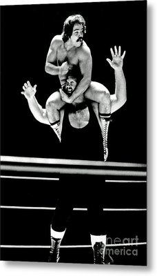 Old School Wrestling Piggyback Ride By Mando Guerrero Metal Print by Jim Fitzpatrick
