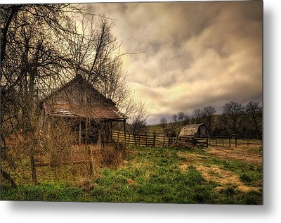 Old Shed And Barn At Osage Metal Print by Michael Dougherty