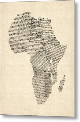 Old Sheet Music Map Of Africa Map Metal Print by Michael Tompsett