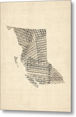 Old Sheet Music Map Of British Columbia Canada Metal Print by Michael Tompsett