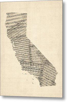 Old Sheet Music Map Of California Metal Print