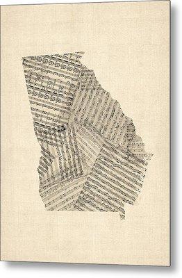 Old Sheet Music Map Of Georgia Metal Print