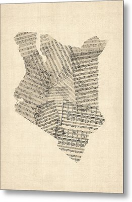 Old Sheet Music Map Of Kenya Map Metal Print by Michael Tompsett