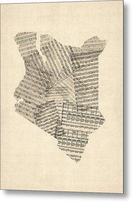 Old Sheet Music Map Of Kenya Map Metal Print