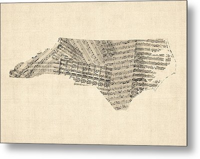 Old Sheet Music Map Of North Carolina Metal Print by Michael Tompsett