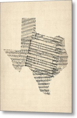 Old Sheet Music Map Of Texas Metal Print by Michael Tompsett