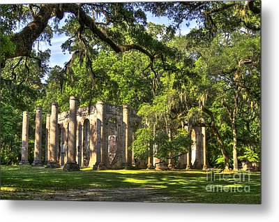 Old Sheldon Church Ruins Metal Print by Reid Callaway