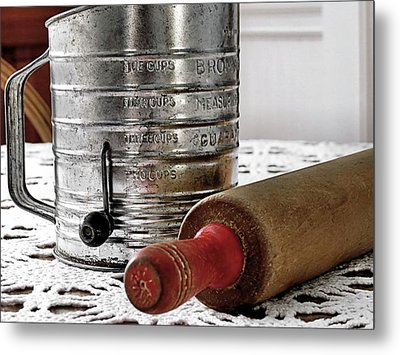 Old Sifter And Rolling Pin Metal Print by Janice Drew