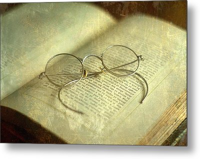 Old Silver Spectacles And Book Metal Print by Suzanne Powers