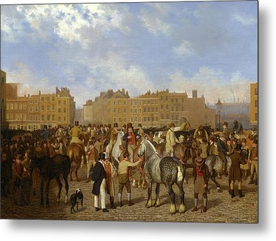Old Smithfield Market, London Signed In Brown Paint Metal Print by Litz Collection