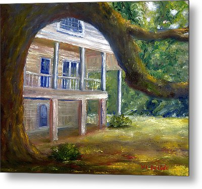 Metal Print featuring the painting Old Southern Louisiana Mansion Plantation by Lenora  De Lude