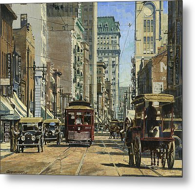 Old St. Louis 11th And Olive Metal Print by Don  Langeneckert