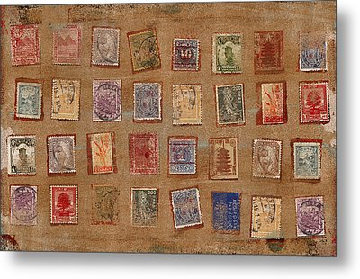 Old Stamp Collection Metal Print by Carol Leigh