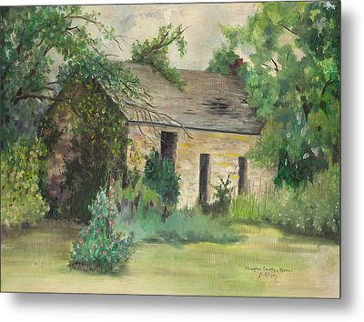 Old Stone Building In Kansas Metal Print by Sheila Kinsey