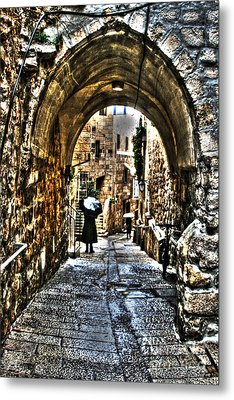 Metal Print featuring the photograph Old Street In Jerusalem by Doc Braham