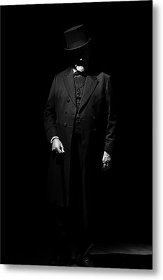 Vintage Gentlemen With Tall Hat - Style Has Not Deadline Metal Print by Pedro Cardona