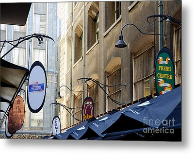 Old-style Signs Above A Melbourne Laneway Metal Print by David Hill