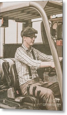 Old Style Warehouse Worker Driving Forklift Metal Print