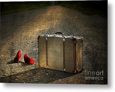 Old Suitcase With Red Shoes Left On Road Metal Print by Sandra Cunningham
