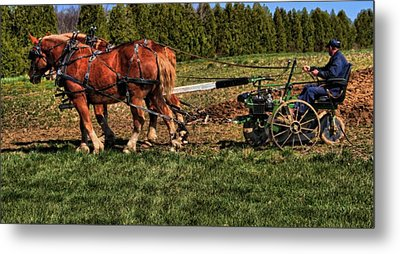 Old Time Horse Plowing Metal Print by Dan Sproul