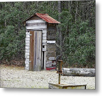 Old Time Outhouse And Pitcher Pump Metal Print by Al Powell Photography USA