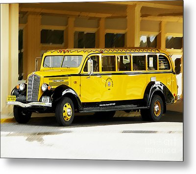 Old Time Yellowstone Bus Metal Print by David Lawson