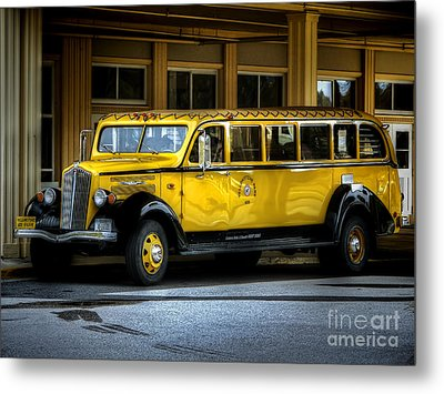 Old Time Yellowstone Bus II Metal Print by David Lawson
