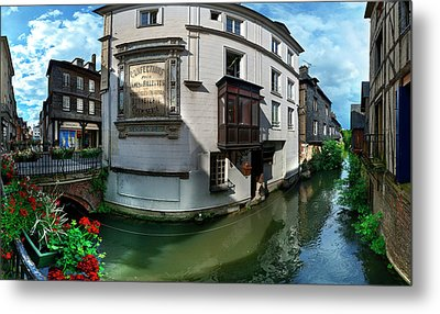 Old Town And Canal, Pont-audemer, Eure Metal Print