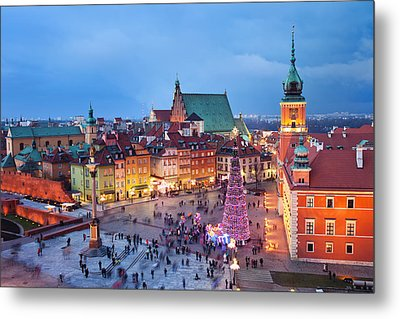 Old Town In Warsaw At Night Metal Print