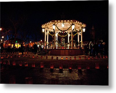 Old Town Luminarias And Bandstand Metal Print