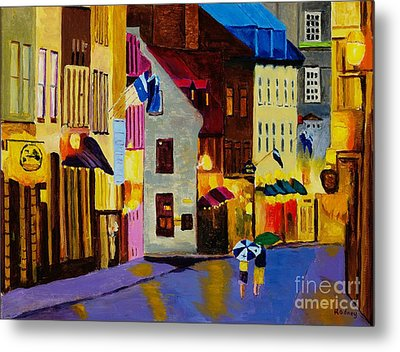 Metal Print featuring the painting Old Towne Quebec by Rodney Campbell