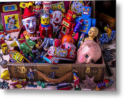 Old Toys In Suitcase Metal Print by Garry Gay