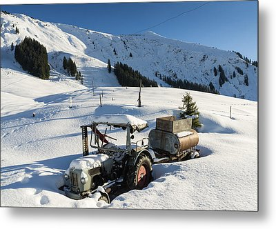 Old Tractor In Winter With Lots Of Snow Waiting For Spring Metal Print by Matthias Hauser