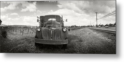 Old Truck In A Field, Napa Valley Metal Print by Panoramic Images