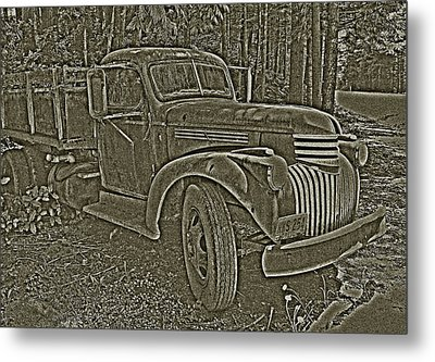 Metal Print featuring the photograph Old Truck In Sepia by Betty Depee