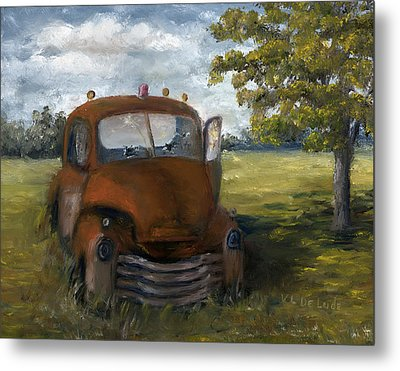 Metal Print featuring the painting Old Truck Shreveport Louisiana Wrecker by Lenora  De Lude