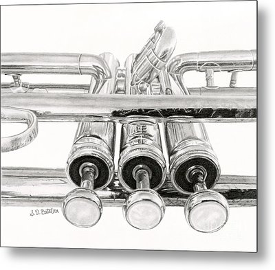 Old Trumpet Valves Metal Print by Sarah Batalka