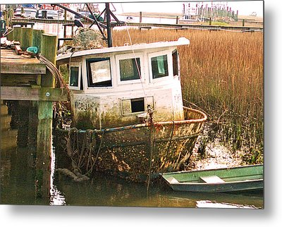 Old Tugboat By Jan Marvin Metal Print