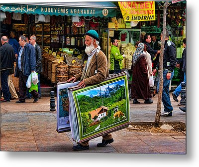 Poster Man At The Istanbul Spice Market Metal Print by David Smith