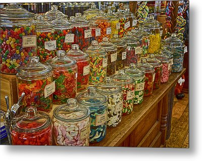 Old Village Mercantile Caledonia Mo Candy Jars Dsc04014 Metal Print by Greg Kluempers