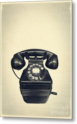 Old Vintage Telephone Metal Print
