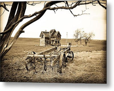 Old Wagon And Homestead Metal Print by Athena Mckinzie