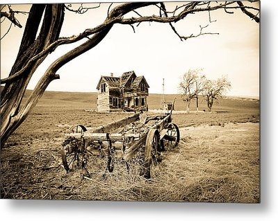 Old Wagon And Homestead II Metal Print by Athena Mckinzie